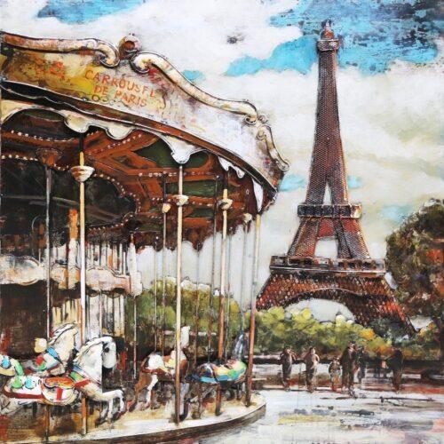 Metal Art 3D schilderij 'Carrousel Parijs'