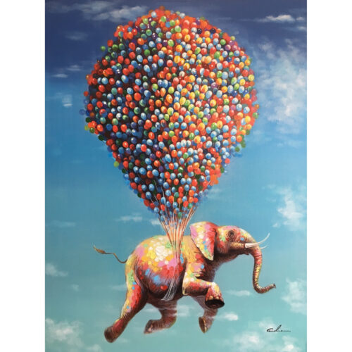 Schilderij 'Olifant aan ballonnen'
