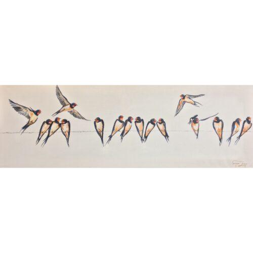 Vanessa Lomas schilderij 'Birds on a wire'