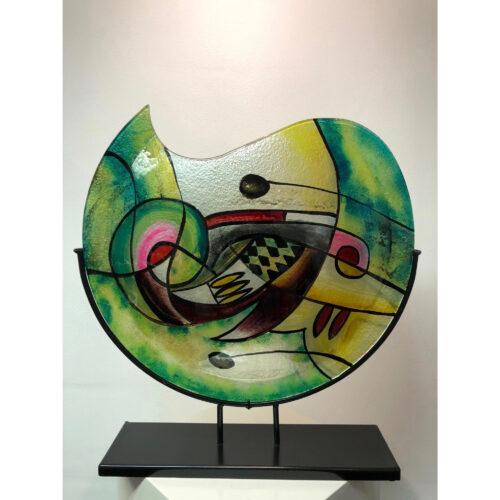 Design glas handbeschilderd Vaas maanvorm 'Green Sigi'