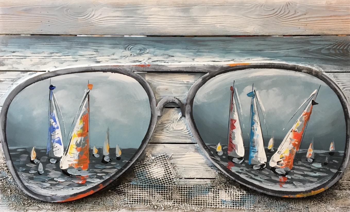 Verwonderend Schilderij op hout 3D 'Sunglass' - Origineel op hout - 55 x 90 cm YT-31