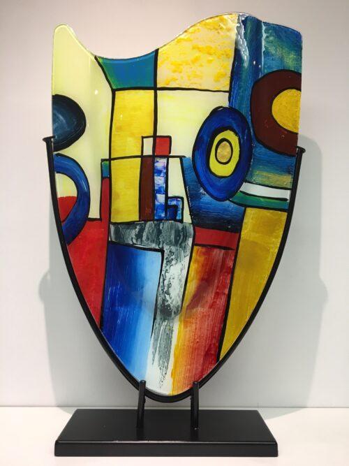 Design glas handbeschilderd 'Vaas hoog Mondriaan'