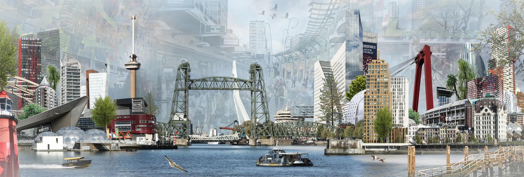 Groeneweg fotocompilatie 'The Bridge Rotterdam