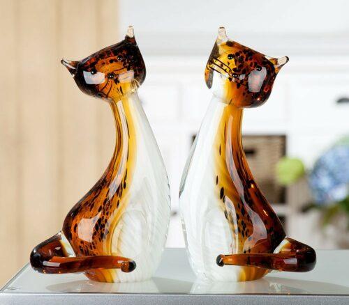 Gilde glas beeld 'Poezen paar'