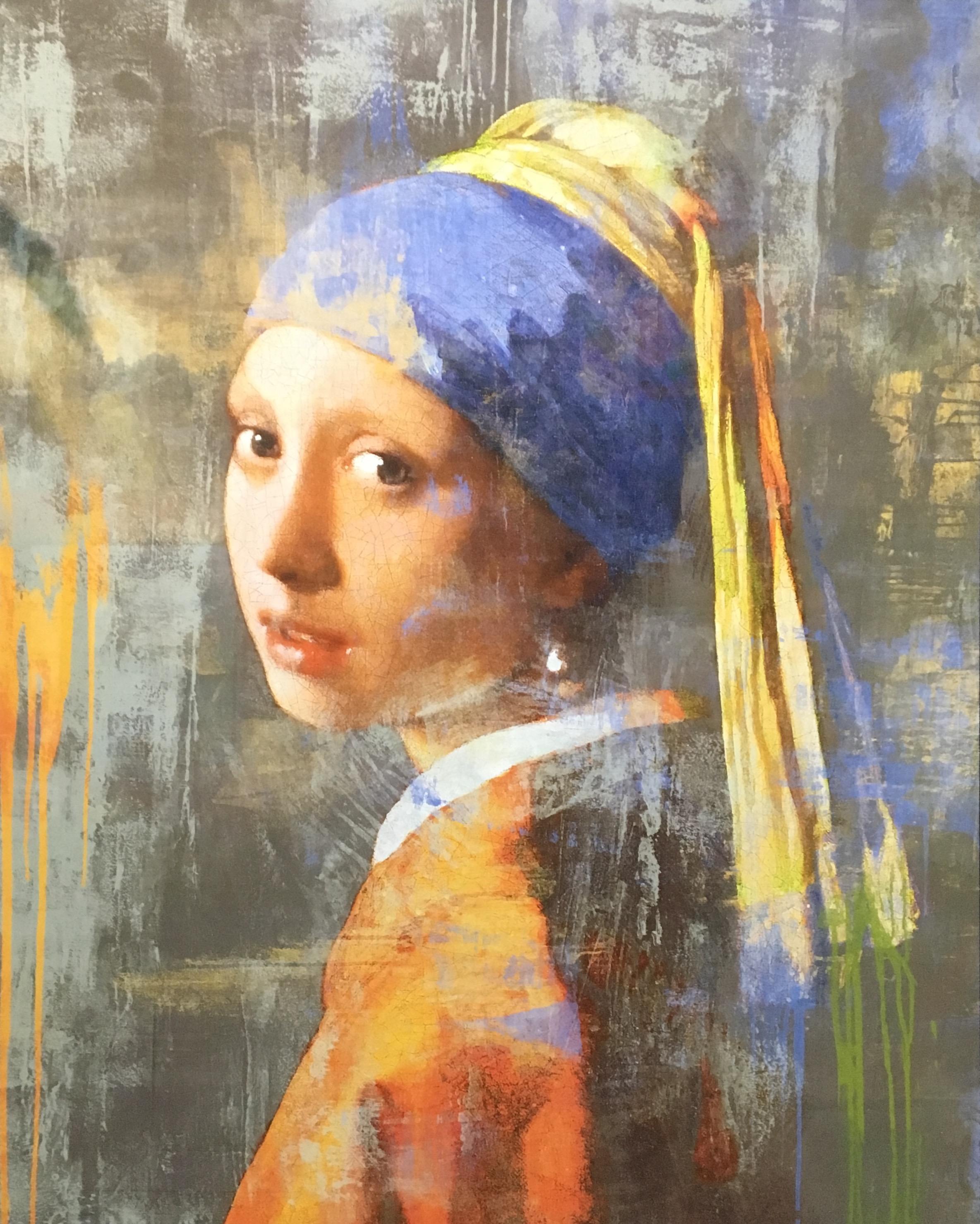Foto op glas 'Meisje met de parel'