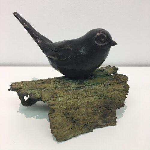 Laurens Spier bronzen beeld 'Staartmees op schors'