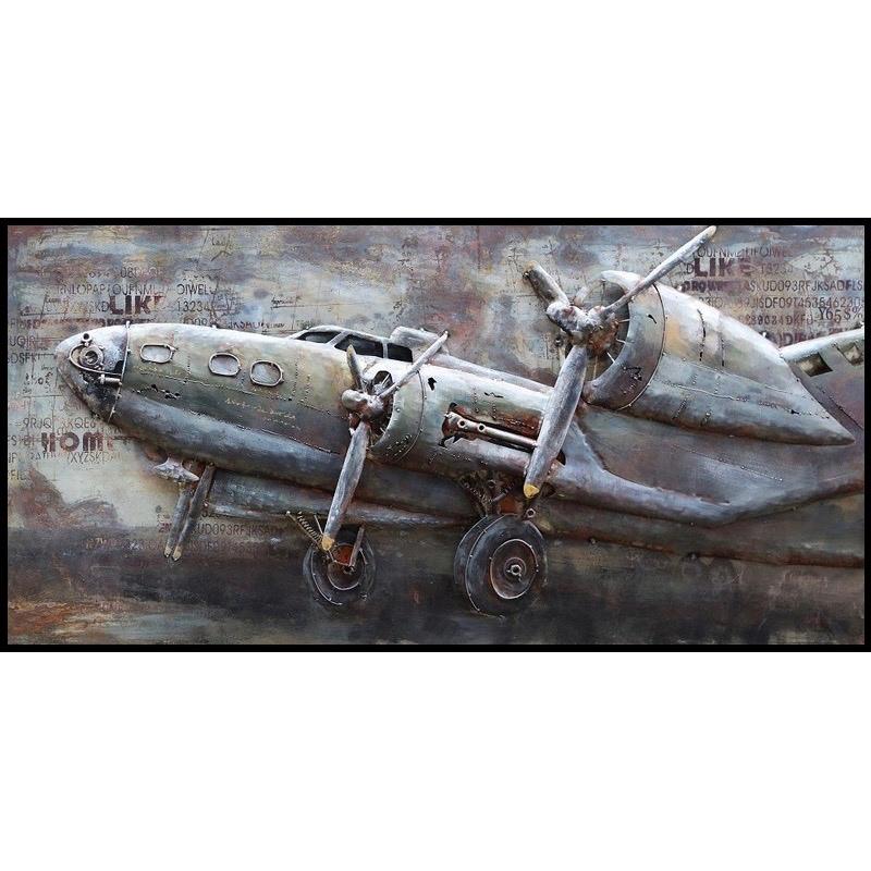 Metal Art 3D schilderij 'Vliegtuig II'