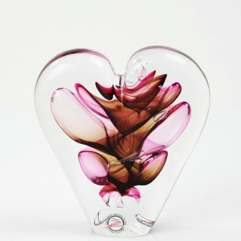 Loranto glas hart klein 'rood,roze,beige'
