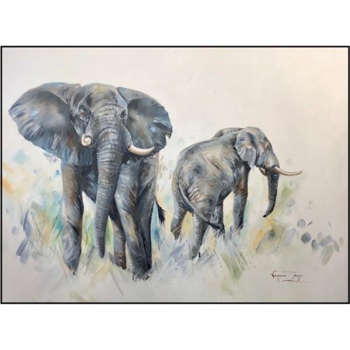 Vanessa Lomas schilderij 'Two elephant foraging'