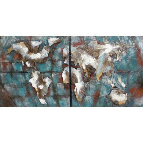 Metal Art 3D schilderij 2-luik 'Wereldkaart'