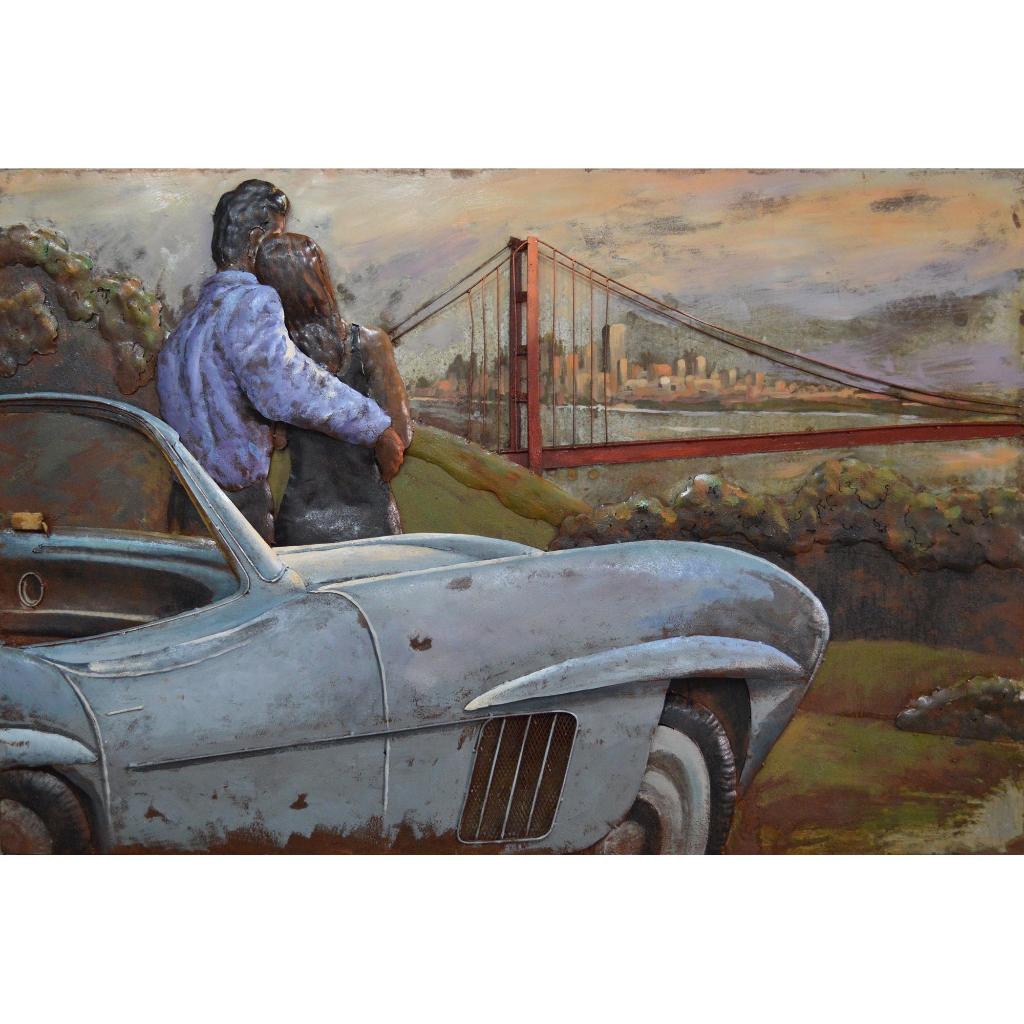 metal art 3d schilderij 39 golden gate bridge 39 80 x 120 cm van bellen art. Black Bedroom Furniture Sets. Home Design Ideas