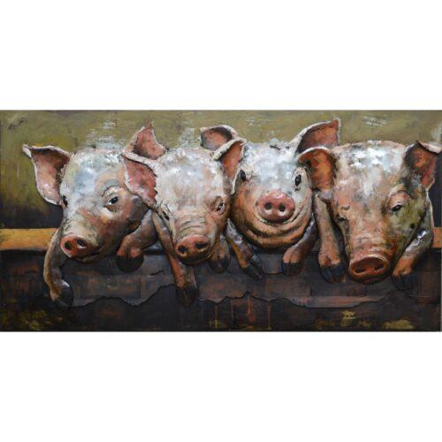 Metal Art 3D schilderij 'Varkens'