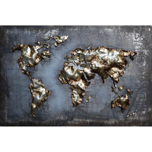 Metal Art 3D schilderij 'Wereldkaart'