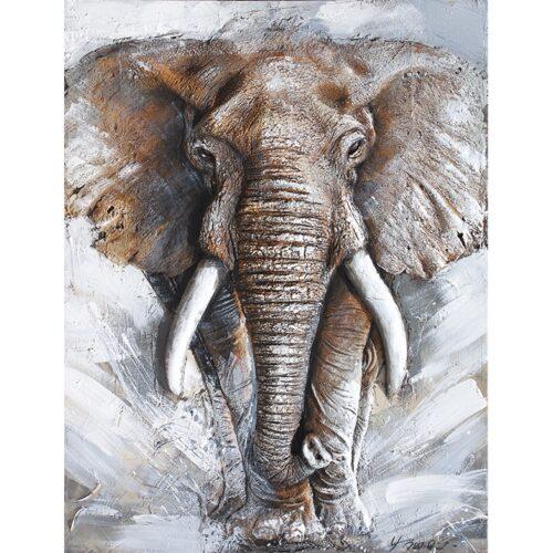 Schilderij met in 3D 'Olifant'