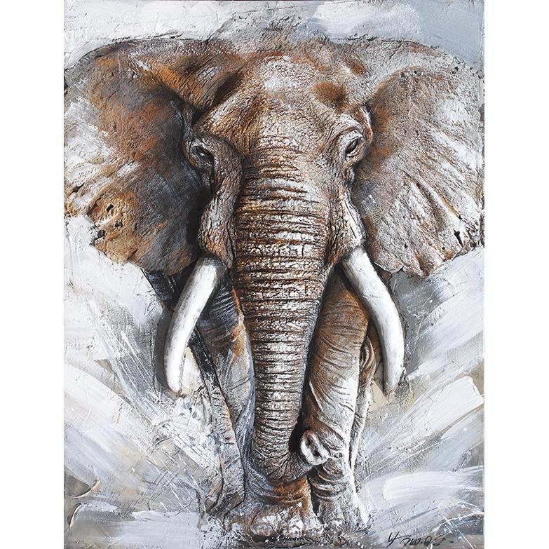 schilderij met in 3d 39 olifant 39 op linnen geschilderd in