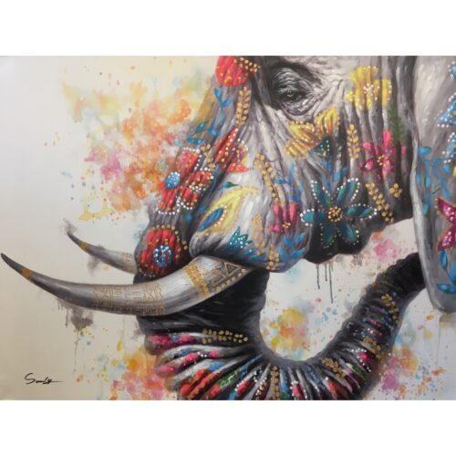 DecoArt schilderij 'Olifant met kleur'