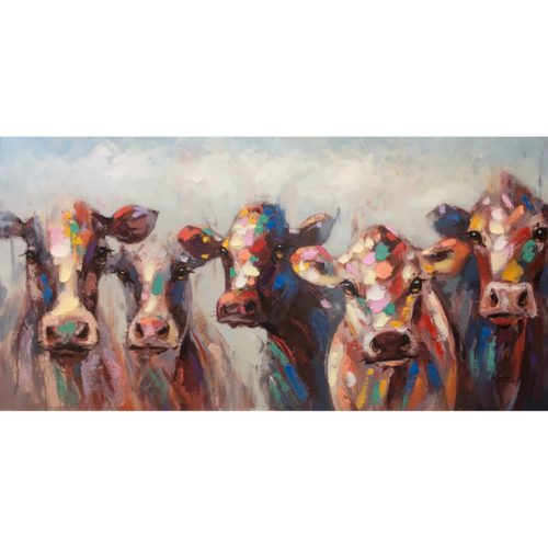 DecoArt schilderij 'Vijf vrolijke koeien'