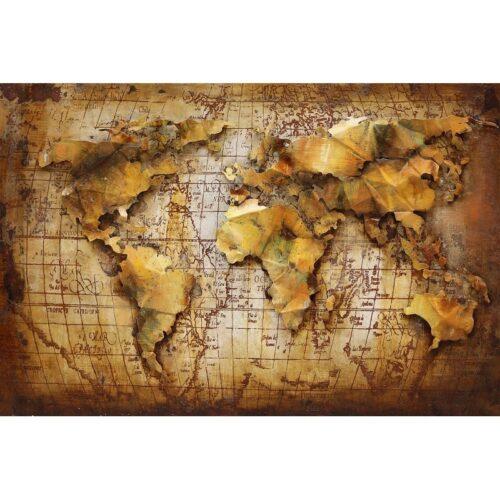 Metal Art 3D schilderij 'De Wereld'