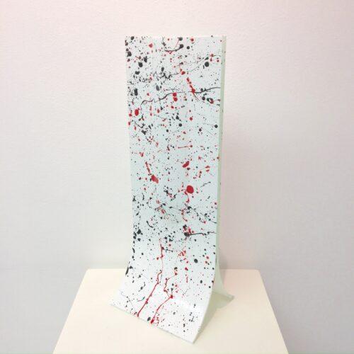 Carneol handbeschilderde vaas smal 'Pollock'