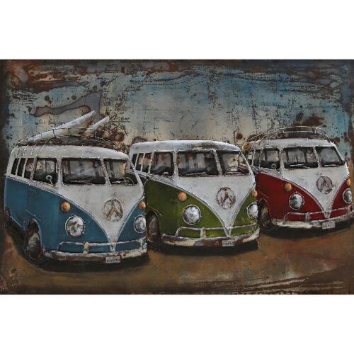 Metal Art 3D schilderij 'VW bussen'