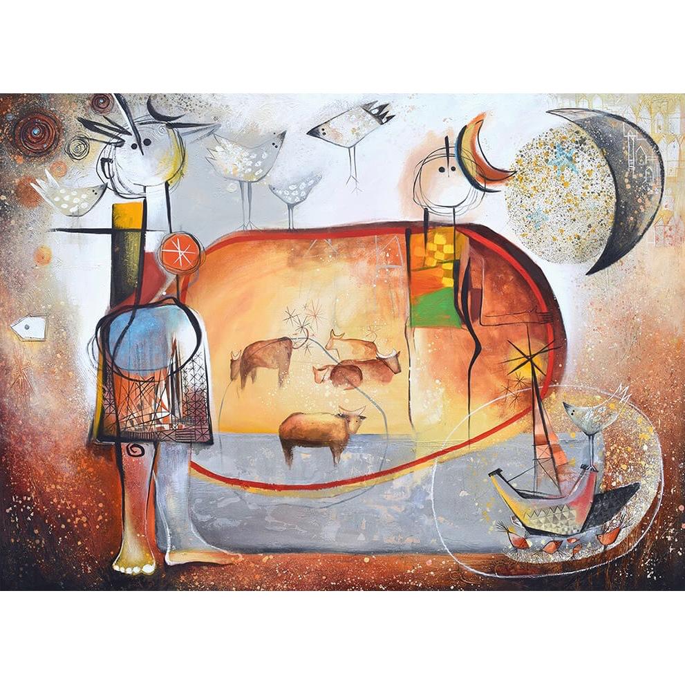 Angeles Nieto schilderij 'Tarde en el prado'