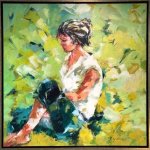 Ricky Damen schilderij 'Thinking'