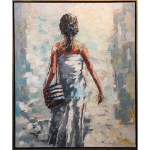 Ricky Damen schilderij 'Walking to the beach'