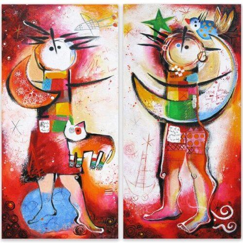 Angeles Nieto schilderij 2-luik 'Hombre y Mujer'