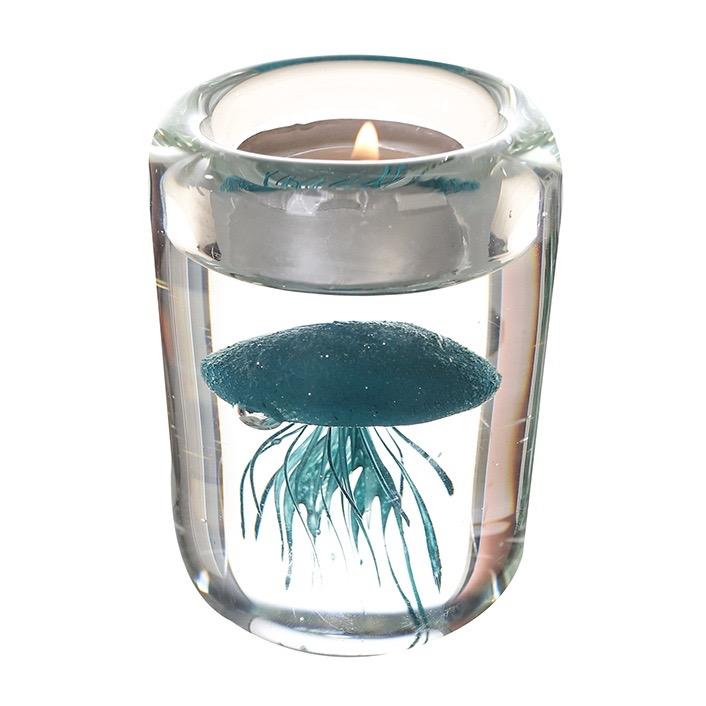 Vetro glas beeld 'Glazen waxinelicht blauw'