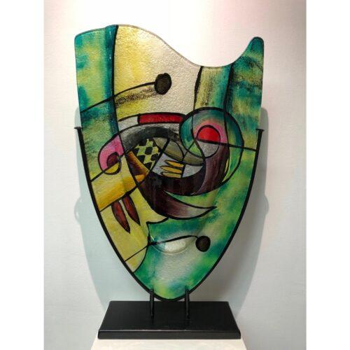 Design glas handbeschilderd Vaas hoog 'Green Sigi'