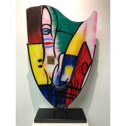 Design glas handbeschilderd 'Vaas hoog Picasso'