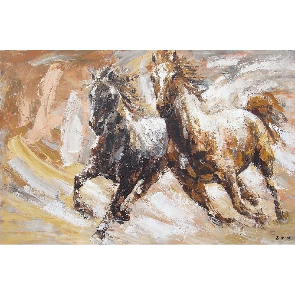 Welp Schilderij 'Paarden' - 100 x 150 cm - Olieverf schilderij op linnen FW-04