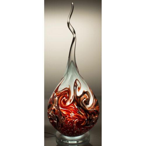 Arno France kristalglas sculptuur met led verlichting 'Red wave'