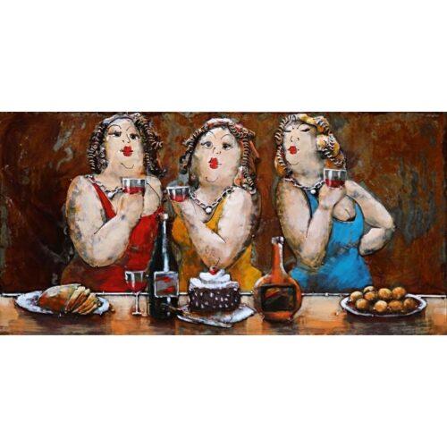 Metal Art 3D schilderij 'Party Lady's'