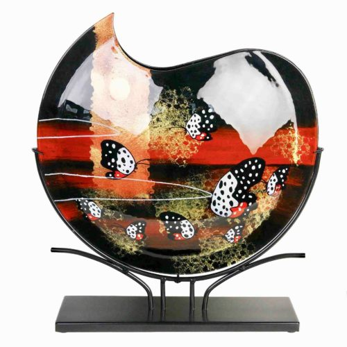 Design glas handbeschilderd Vaas maanvorm 'Butterfly'
