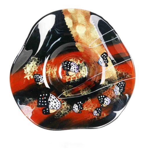 Design glas schaal hoed 'Butterfly'