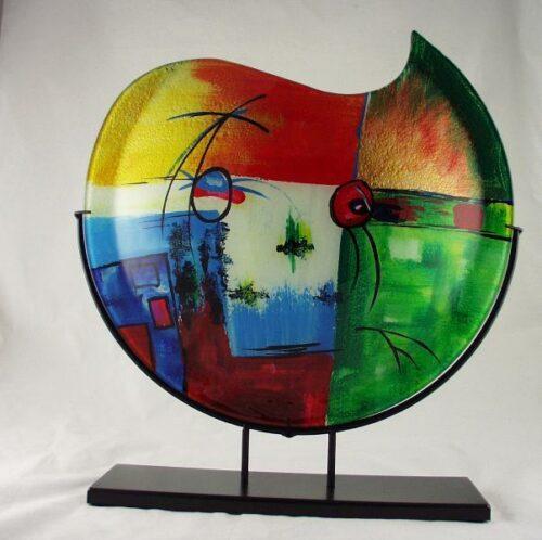 Design glas handbeschilderd vaas maanvorm 'Fresh'