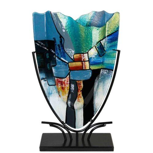 Design glas handbeschilderd Vaas hoog kartelrand 'Cool Melissa'