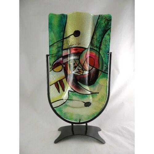 Design glas handbeschilderd Vaas ovaal 'Green Sigi'