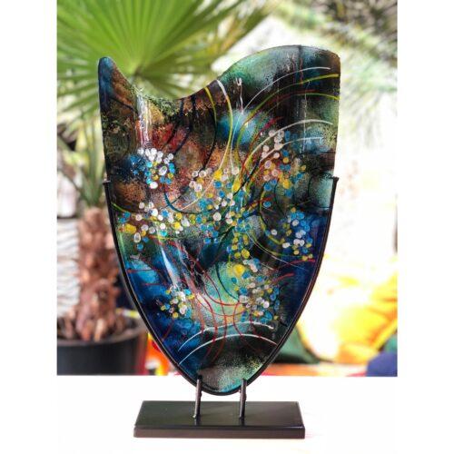 Design glas handbeschilderd vaas hoog 'Cool Melissa'