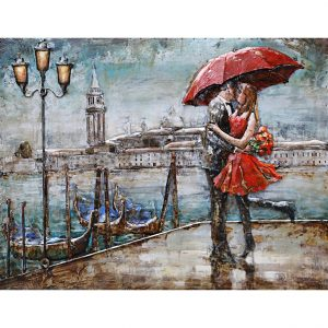 Metal Art 3D schilderij 'Kiss in Venice'