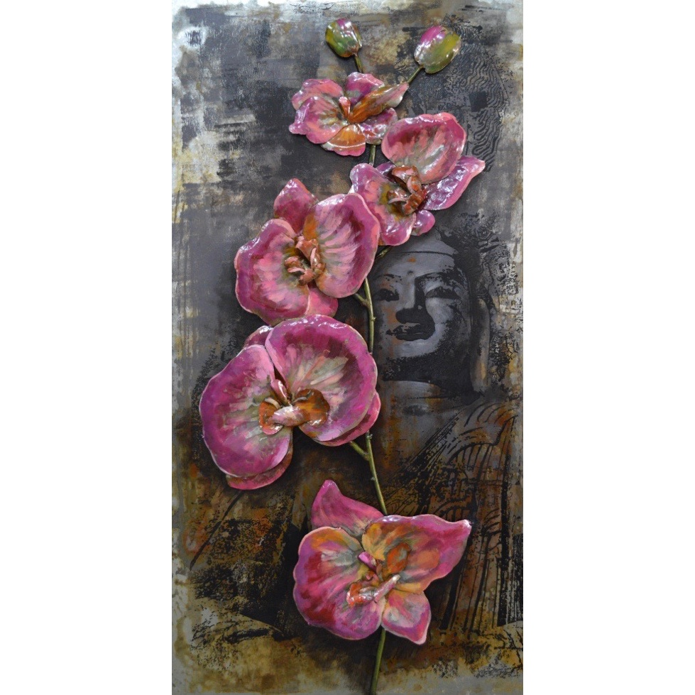 Metal Art 3D schilderij 'Pink Orchids'