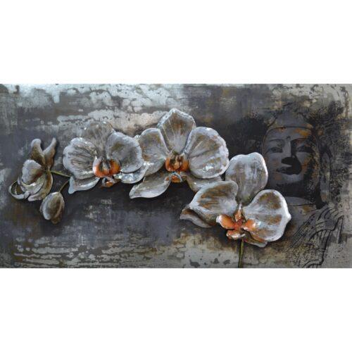 Metal Art 3D schilderij 'White Orchids'