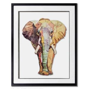 Schilderij Paper Art 'Olifant'