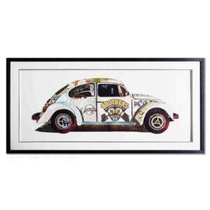 Schilderij Paper Art 'VW Kever'