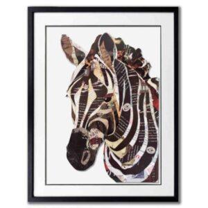 Schilderij Paper Art 'Zebra hoofd'