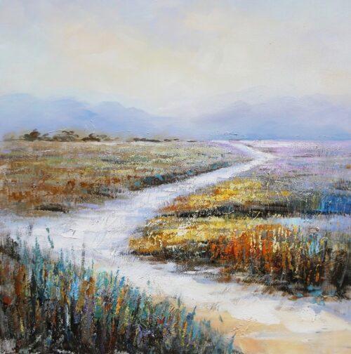Schilderij 'Landschap met heide
