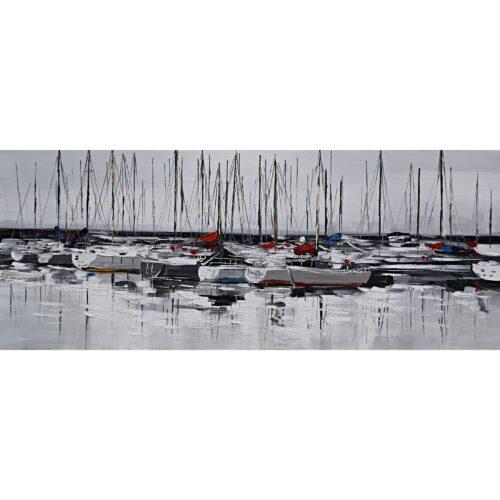 Schilderij 'Zeilboten in de haven'