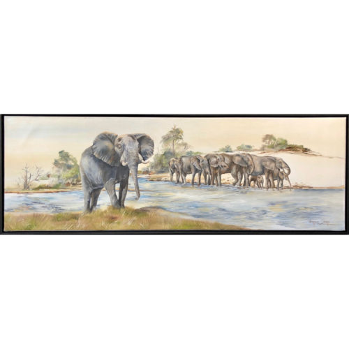 Vanessa Lomas schilderij 'Elephants drinking