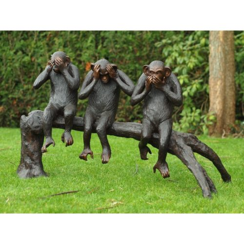 Bronzartes bronzen beeld 'Horen, zien en zwijgen
